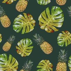 Seamless pattern with pineapple and palm leaves. Vector pattern with triangulated pineapple and palm trees