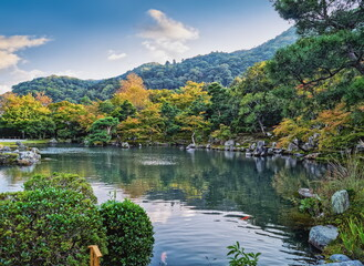 Beautiful lake and lanscape around Kyoto, Japan