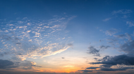 Panorama of dramatic sunset sky