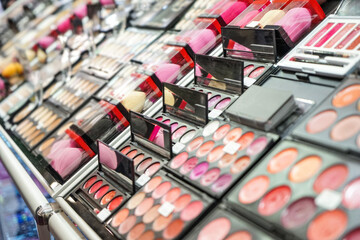 Different cosmetics in modern shop