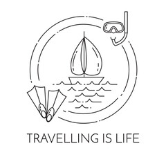Traveling horizontal banner with sailboat on waves, flippers and diving mask in circle.