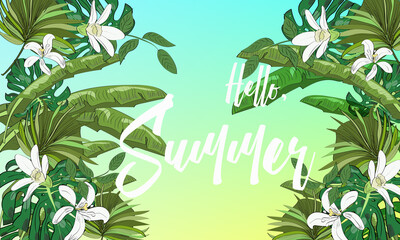 Hand drawn background with tropical leaves, flowers, and sun. Hello, summer.