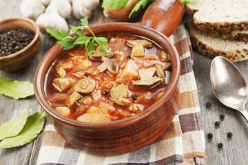 Vegetarian beetroots soup with  mushrooms