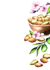 Almonds template. Watercolor background