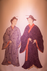 Antique Asian canvas painting of two men in kimono robes