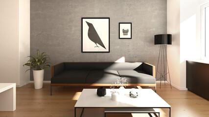 dunkles Sofa vor grauer Wand Apartment