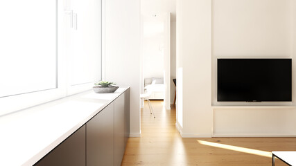 Blick Vom Wohnzimmer Ins Schlafzimmer Apartment