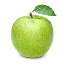 green apple with leaves isolated on white background
