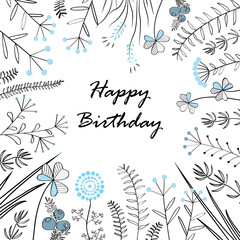 Wall Mural - Card with medow herbs and text Happy Birthday. Vector illustration. Illustration for greeting cards, invitations, and other printing projects.
