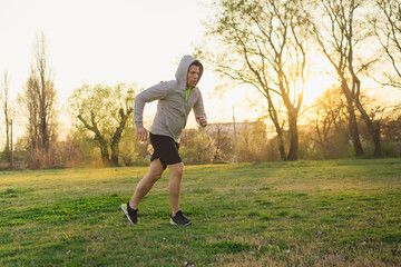 Man running, fitness concept in the city