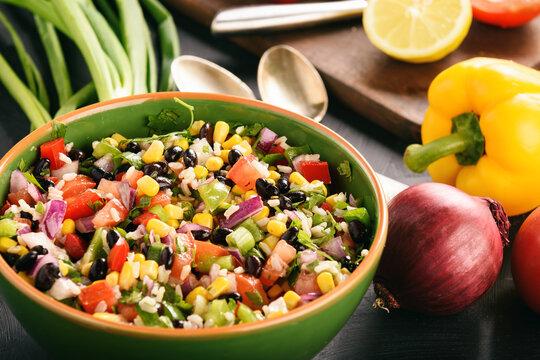 Mexican vegetable salad with black bean- cowboy caviar.
