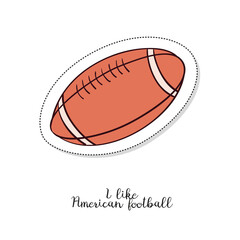 Cartoon sticker with American football ball on white background.