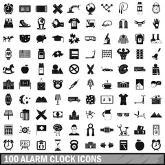 100 alarm clock icons set, simple style