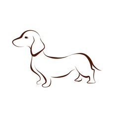 Brown dachshund drawing silhouette