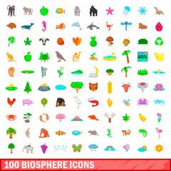 100 biosphere icons set, cartoon style