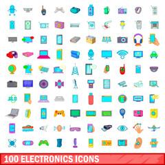 100 electronics icons set, cartoon style