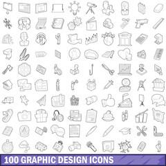 100 graphic design icons set, outline style