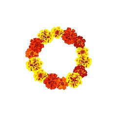 Marigold flowers wreath isolated on white background