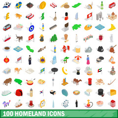 100 homeland icons set, isometric 3d style