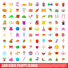 100 kids party icons set, cartoon style