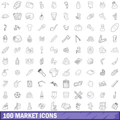 100 market icons set, outline style