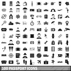 100 passport icons set, simple style