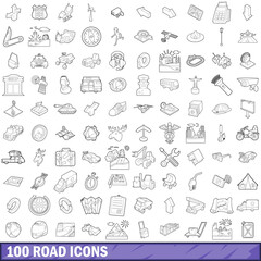 100 road icons set, outline style