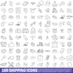 100 shipping icons set, outline style