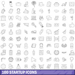 100 startup icons set, outline style