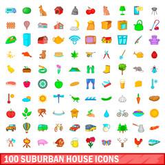 100 suburban house icons set, cartoon style