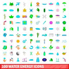 100 water energy icons set, cartoon style
