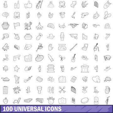 100 universal icons set, outline style