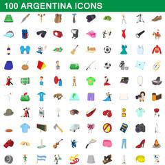 100 argentina icons set, cartoon style