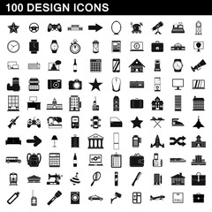 100 design icons set, simple style