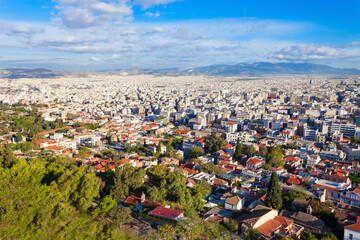 Athens aerial panoramic view