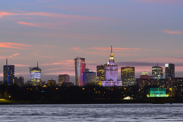 Panorama of Warsaw skyline during sunset