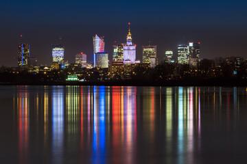 Poster Violet Night panorama of Warsaw skyline