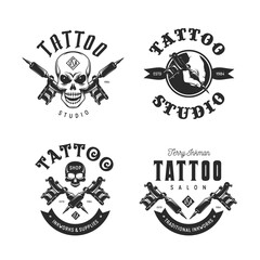 Tattoo studio emblems set. Vector vintage illustration.