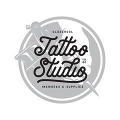 Tattoo studio typography emblem. Vector vintage illustration.