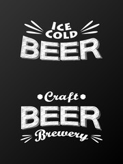 Craft beer - collection of banners. Vector illustration.
