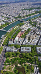 Aerial view of river Seine from Eiffel tower with beautiful scattered clouds, Paris, France