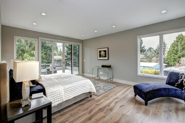 Master bedroom interior with private balcony