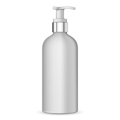 Realistic white plastic bottle for cream, liquid soap with pump. 3d white realistic cosmetic package empty tube vector illustration. Realistic blank template of plastic bottle with dispenser