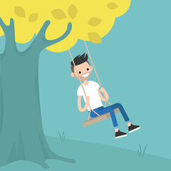 Young bearded man sitting on the swing / editable flat vector illustration