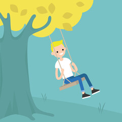 Young blond boy sitting on the swing / editable flat vector illustration