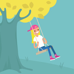 Young blond girl sitting on the swing / editable flat vector illustration