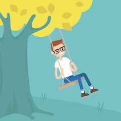 Young nerd sitting on the swing / editable flat vector illustration