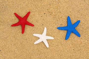 Patriotic starfish on beach