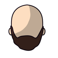 nice man face with beard and bald