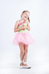 Little ballerina child smiling